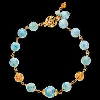 Larimar, 14k, 18k and 22k Yellow Gold Bracelet