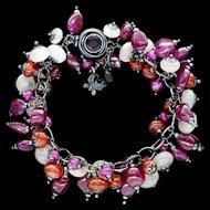 Ruby, Moonstone and Garnet Bracelet Sterling Silver