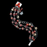 Rutilated Quartz, Garnet and Carnelian Bracelet Sterling Silver