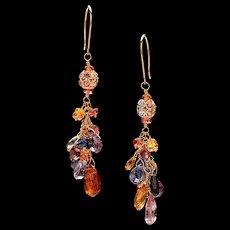 Multi-Colored Sapphire 18K Gold Dangle Earrings