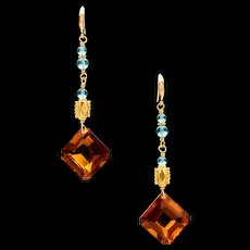 18K Gold Citrine Apatite Dangle Earrings