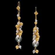 Tahitian and Akoya Pearl 18k Gold Dangle Earrings