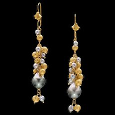 Tahitian and Akoya Pearl 18k Gold Dangle Earrings