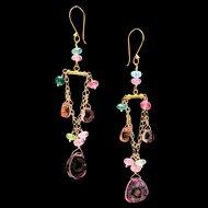 14K and 18K Gold Watermelon Tourmaline Chandelier Dangle Earrings