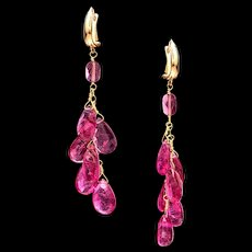 Tourmaline 18k Gold Dangle Earrings