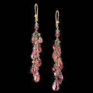 18K Gold Watermelon Tourmaline Dangle Earrings