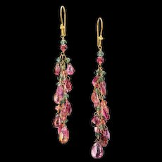 18K Gold Watermelon Tourmaline Dangle Earrings