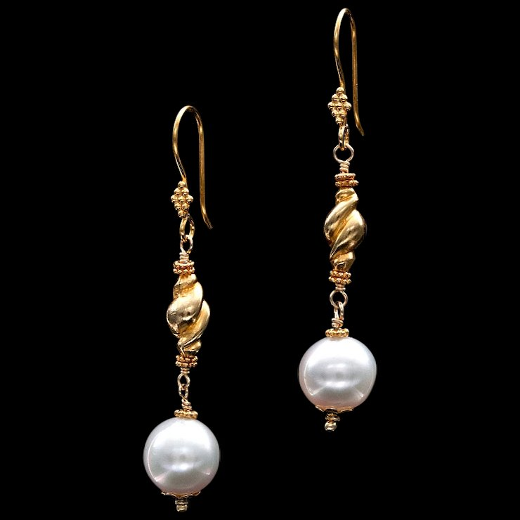 South Sea Pearl 14k and 18k Gold Dangle Earrings btwisted Jewelry
