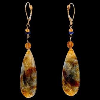 Sapphire 18K Yellow Gold Dangle Earrings