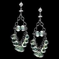 Moss Aquamarine Sterling Silver Chandelier Dangle Earrings