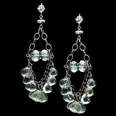 Moss Aquamarine Sterling Silver Chandelier Dangle Earrings