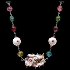 Freshwater Pearl, Ruby and Tourmaline Sterling Silver Necklace