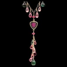 Tourmaline 14K and 18K Yellow Gold Necklace