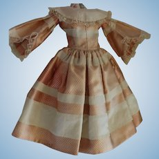 Silk Doll Gown Antique Doll, Silk and Lace Bell Sleeves China or Fashion Doll