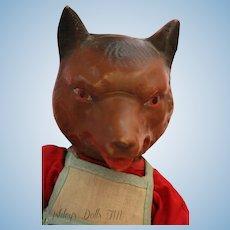 Vintage Fruendlich Big Bad Wolf Doll, 11 IN, 1930's Composition Wolf Doll RARE