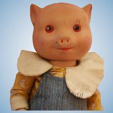 Vintage Fruendlich Pig Doll, 11 IN, 1930's Composition Little Pig Doll RARE