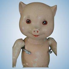 Freundlich Pig Doll, 10 3/4 IN Vintage Composition Pig Doll, Vintage Pig Doll!!