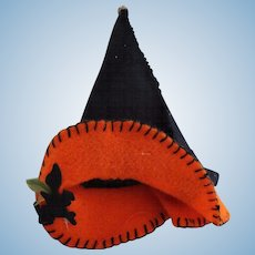 Halloween Witch Hat for Doll, Felt Witch Doll Hat, 4 IN Tall, Halloween Doll!