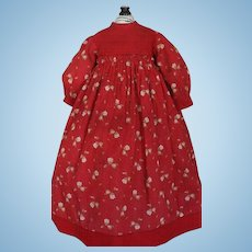 Antique Doll Dress, Antique Red Doll Dress, 1870's Gown, Red Cotton Print Dress