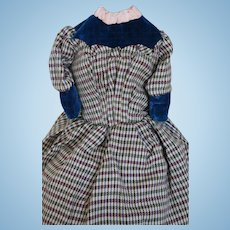 Antique Doll Dress, Antique Wool & Velvet Doll Dress, Antique Dress for Doll