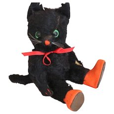 Kersa Black Cat Germany 9 IN Label 1950's Kersa Mohair Cat Metal Label