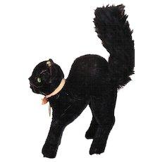 Vintage Steiff Black Cat w Button & Paper Tag, Steiff Black Tom Cat 14 CM