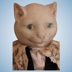 Antique Cat Doll, 18 IN, Antique Composition Cat Doll, White Cat Doll
