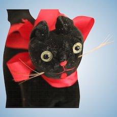 Vintage Black Cat, Vintage Velvet Black Cat 5 1/2 IN Vintage Cat Toy Animal