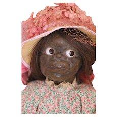 Antique Mary McEwen Doll 17 IN, Antique Black Wax Doll, Glass Eyes Human Hair