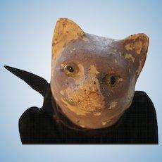 """Antique Black Cat, 6 x 10"""" Antique Composition Black Cat Velvet Body Glass Eyes"""