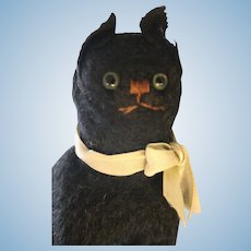 Vintage Mohair Black Cat, 5 IN, Vintage Mohair Cat, Glass Eyes, Vintage Cat
