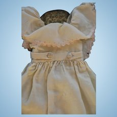 Antique Doll Pinafore, Embroidered Pink Flowers, Silk Buttons, Antique Pinafore