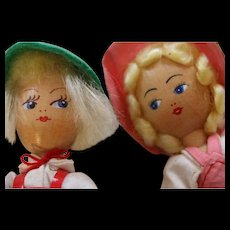 Vintage Polish Wooden Doll Pair, Vintage Wooden Boy and Girl Dolls, Poland, 7 IN