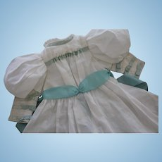 Doll Dress Cotton and Lace Doll Dress for Antique Dolls Silk Ribbon, Artist-made