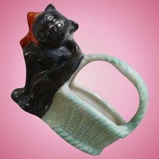 Vintage Bisque Black Cat and Basket, 2 IN, Vintage Black Cat Dollhouse Cat Japan