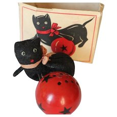 Vintage Black Cat Wind Up Toy w Box! French Toy Toulouse Minet Joue et Miaule