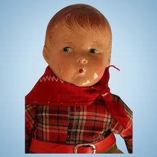 Vintage Composition Whistling Jim Doll, 13 IN, Vintage Whistling Jim Doll
