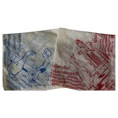 Vintage Handkerchiefs Vintage Goosey, Goosey Gander Hankies 2 Red and Blue