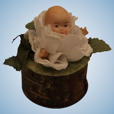 Doll Candy Container, 2 1/2 IN, Artist Made Candy Container Doll in a Flower