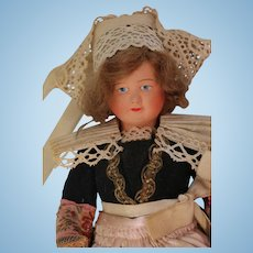 Antique French Celluloid Doll, Brittany, 11 IN, Label Antique Celluloid Doll A/O