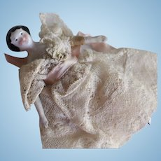 Antique China Doll House Doll, 4 IN, Antique China Doll in Lace Gown, Germany