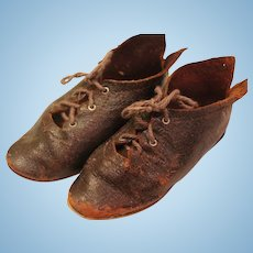 Antique Doll Shoes, 3 3/4 IN, Antique Leather Doll Shoes, Marked 10, Dark Brown