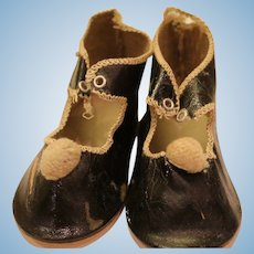 Antique Doll Shoes, 3 5/8 IN, Antique Doll Black Shoes, Marked 10 Pom Poms