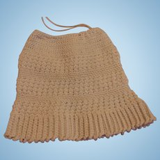 Antique French Doll Skirt, Antique Knitted Cotton Doll Skirt 5 1/2 IN Long Paris