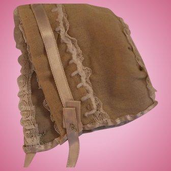 Vintage Doll Bonnet, Vintage Wool Challis Doll Bonnet, 4.5 In, Vintage Doll Hat