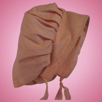 Vintage Doll Bonnet, Vintage Pink Cotton Doll Bonnet, Pink Doll Hat Sunbonnet