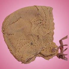 Vintage Doll Bonnet Vintage Knitted Doll Hat Silk Knit Doll Bonnet w Wool Lining