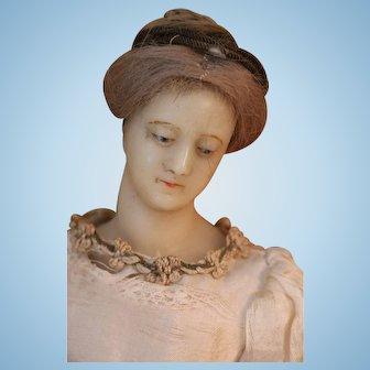 Antique Wax Doll, 14 IN, Antique Poured Wax Lady Doll, Human Hair, Ribbon Winner