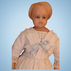 Antique Wax Doll, Petite 14 IN Antique Poured Wax Doll, Antique Clothing, Sweet!