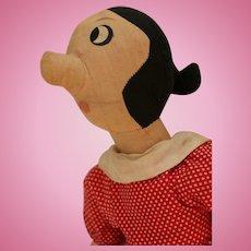 Olive Oyl Doll Vintage Cloth Popeye Olive Oyl Doll 1930s Cloth Doll All Original